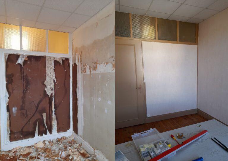 Avant-Après rénovation peinture d'un bureau