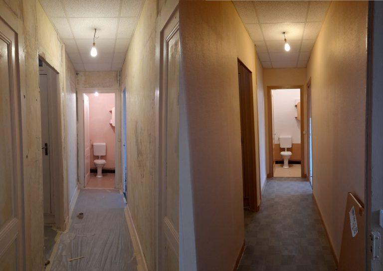 Avant-Après rénovation peinture d'un couloir et toilette