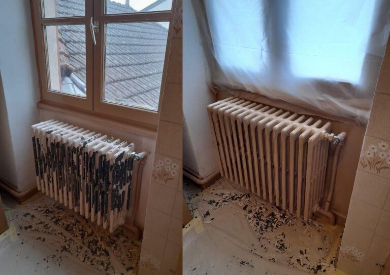 Avant-Après rénovation peinture d'un radiateur