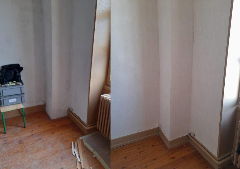 Avant-Après rénovation peinture et plinthe en coin