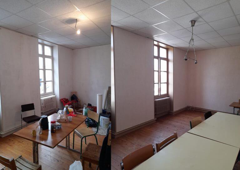 Avant-Après rénovation peinture d'un séjour